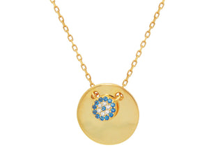 Mini Glimmering Evil Eye Disc Pendant Necklace in Gold Plated Sterling Silver: Length 16