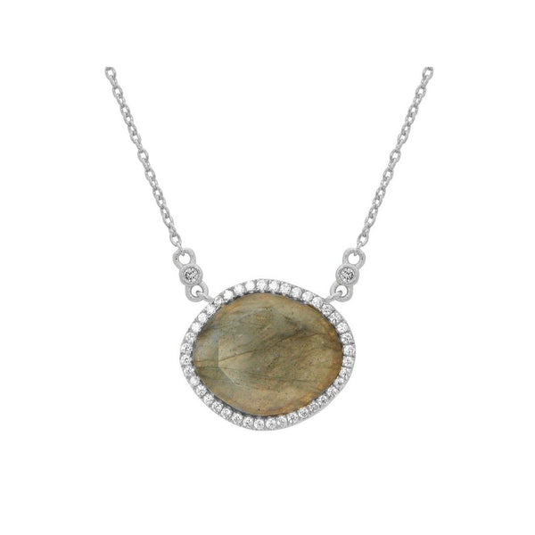 "Labradorite Slice & Cz Pendant Necklace in Sterling Silver, 16"" + 2"