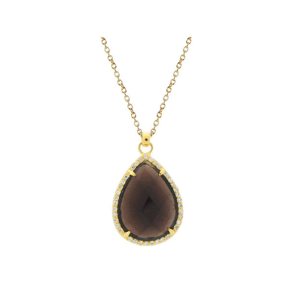 Smoky CZ Tear Drop Necklace