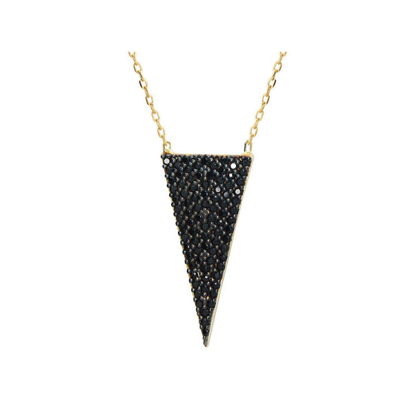 "Silver Gold Plated 1"" Isoceles Triangle  Black  Cz Pendant  16"" + 2"" Necklace"