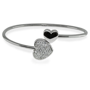 Sparkling Cz Heart Cuff Bangle in Sterling Silver