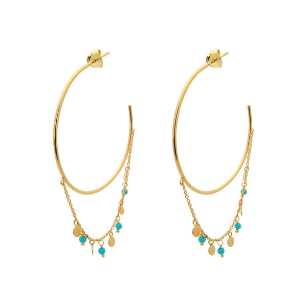 18k Gold Pl Silver Turquoise Chain & Hoops, 1.5