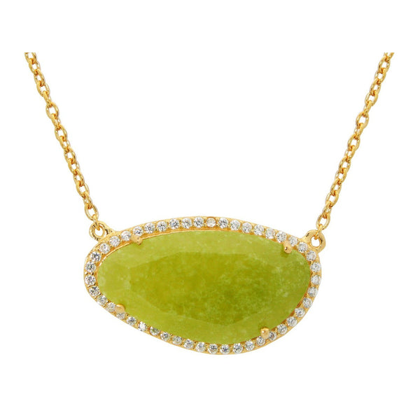 Gold Plated Sterling Silver Olive Jade Slice Stone Necklace, 16