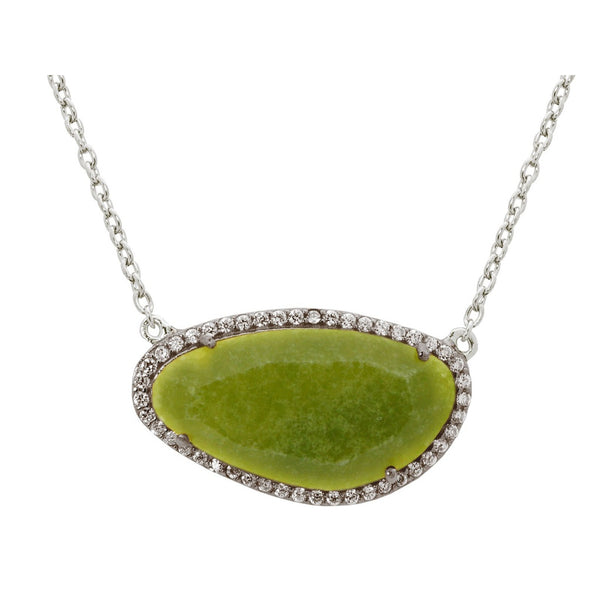 Platinum Plated Sterling Silver Olive Natural Stone Slice Necklace, 16