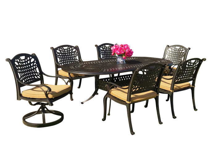 Malibu 7-Piece Oval Patio Dining Set - Everhome Designs