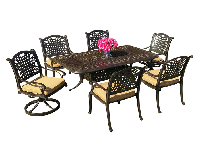 Malibu 7-Piece Rectangular Patio Dining Set - Everhome Designs