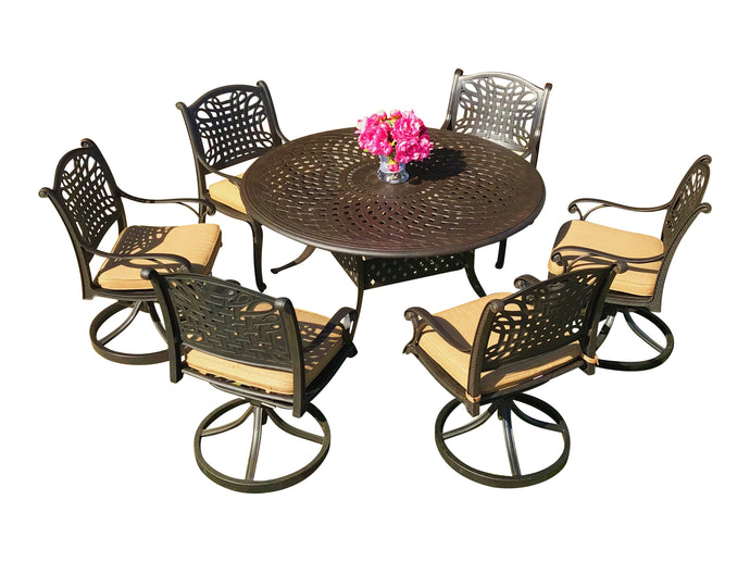Malibu 7-Piece Round Patio Dining Set - Everhome Designs