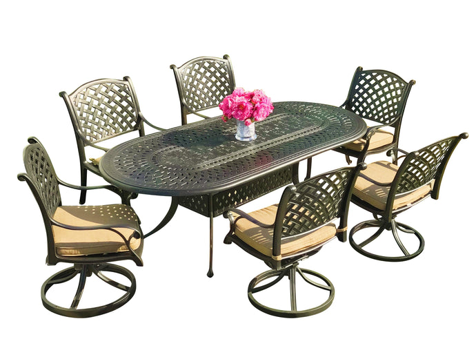 Nevada 7-Piece Oval Dining Set - Everhome Designs