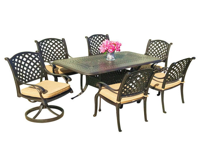 Nevada 7-Piece Rectangular Patio Dining Set - Everhome Designs