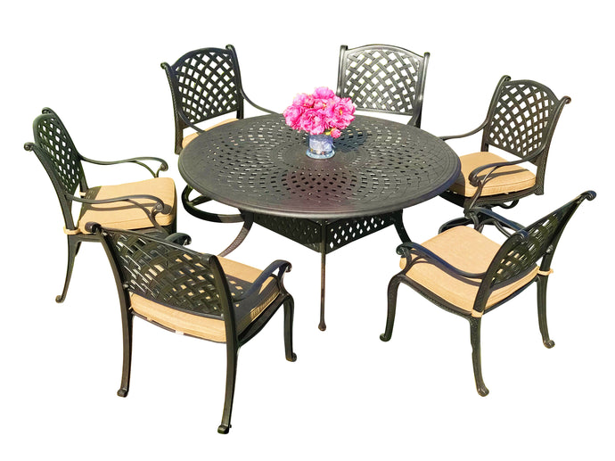 Nevada 7-Piece Round Patio Dining Set - Everhome Designs
