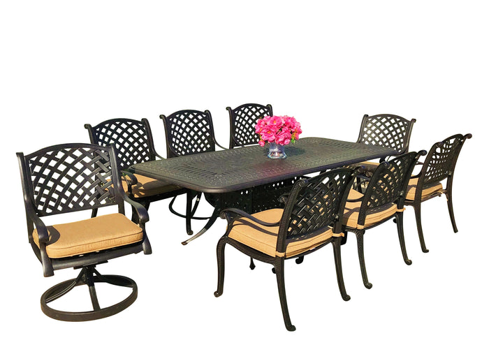 Nevada 9-Piece Rectangular Patio Dining Set - Everhome Designs