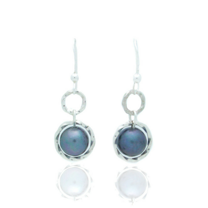 Splendid Earrings - Silver/Grey Pearl