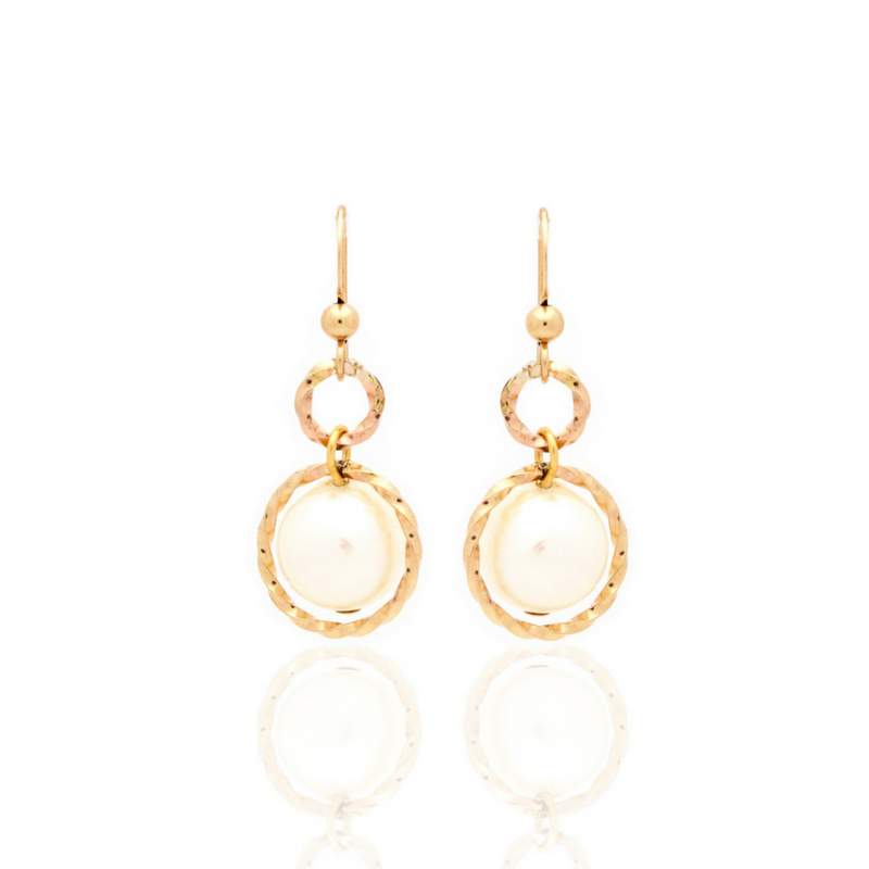 Splendid Earrings - Gold/White Pearl