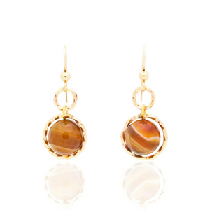 Splendid Earrings - Gold/Brown Agate