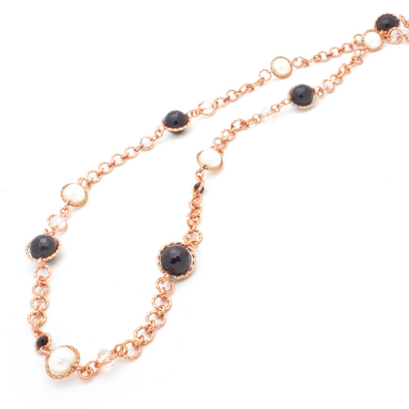 Serendipity Necklace – Copper/Onyx/Pearl