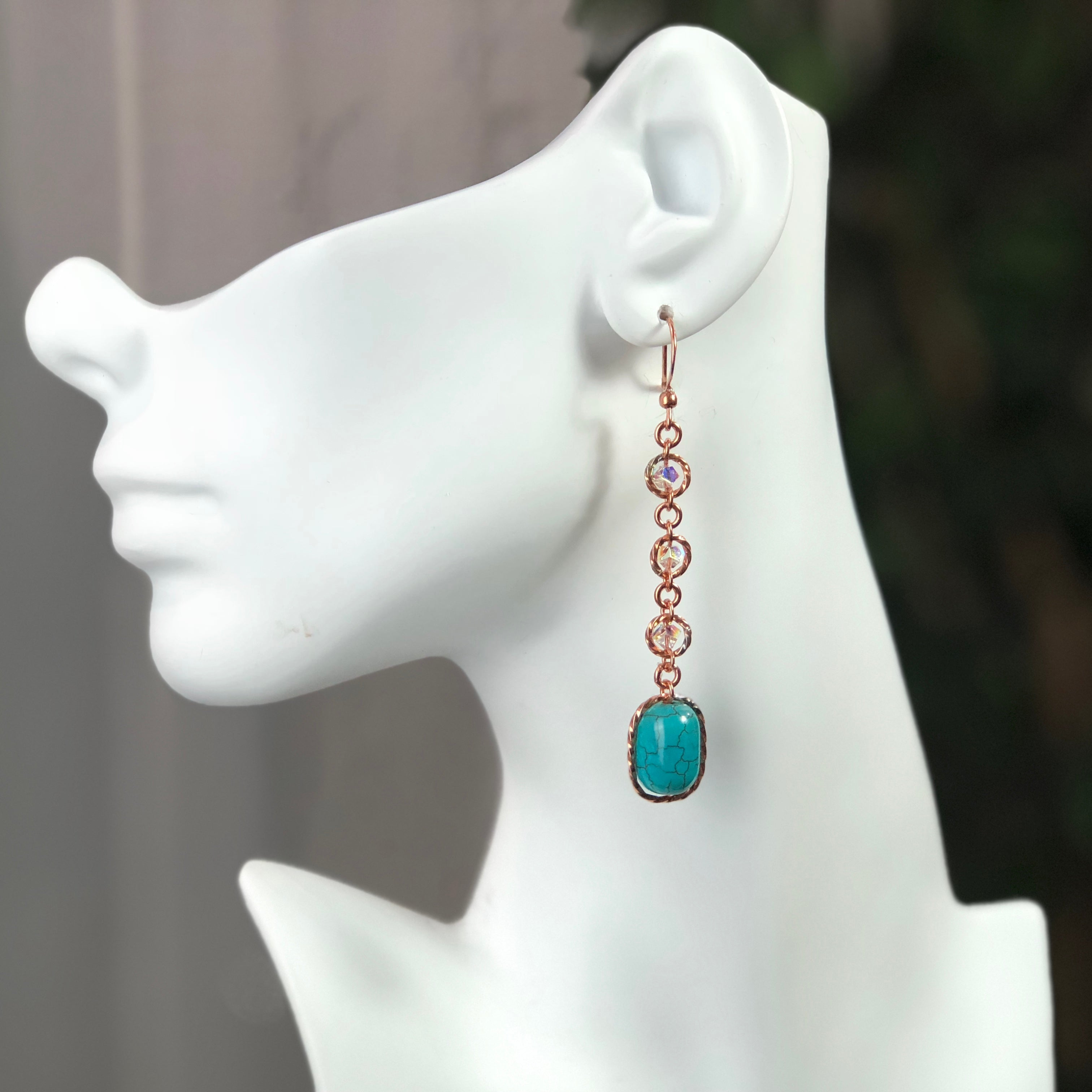Tranquil Earrings - Copper/Turquoise