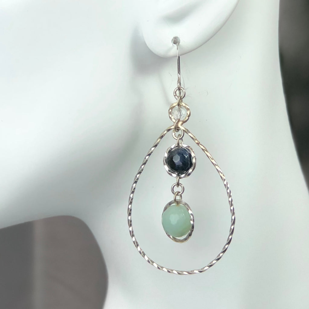 Dew Earrings - Aqua/Sodalite