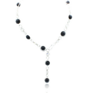 Felicity Necklace - Silver/Onyx