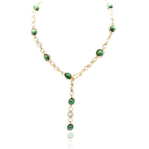 Felicity Necklace - Gold/Green Pearl