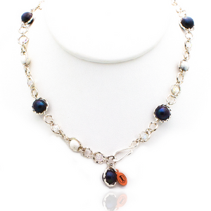 Felicity Necklace - Silver/Blue Pearl