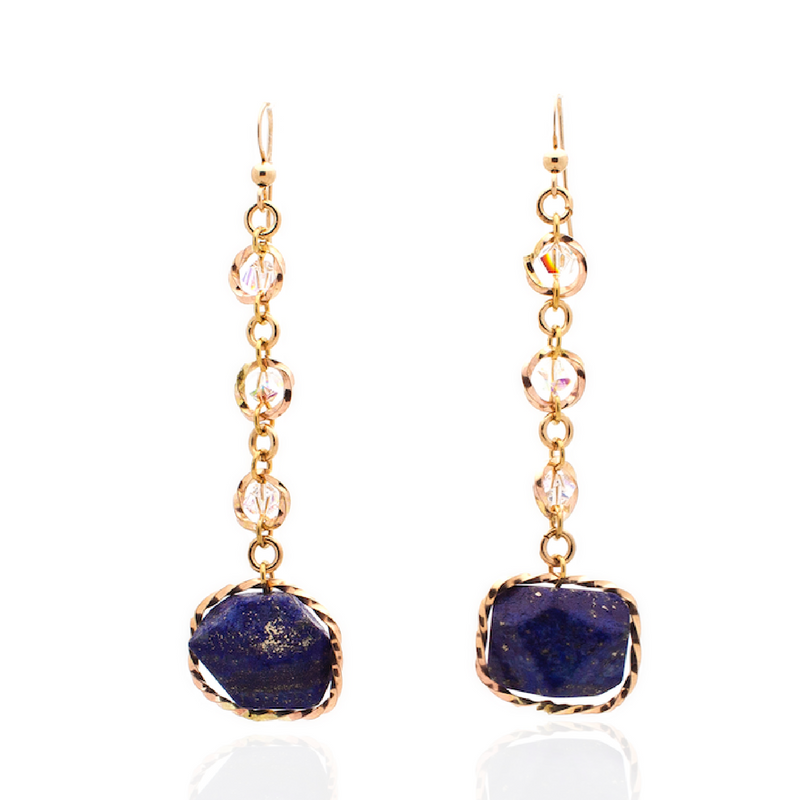 Tranquil Earrings - Gold/Lapis