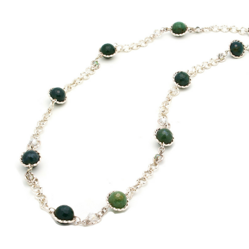Serendipity Necklace - Silver/Green Agate