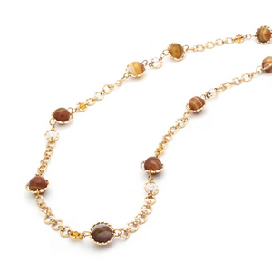 Serendipity Necklace - Gold/Brown Agate