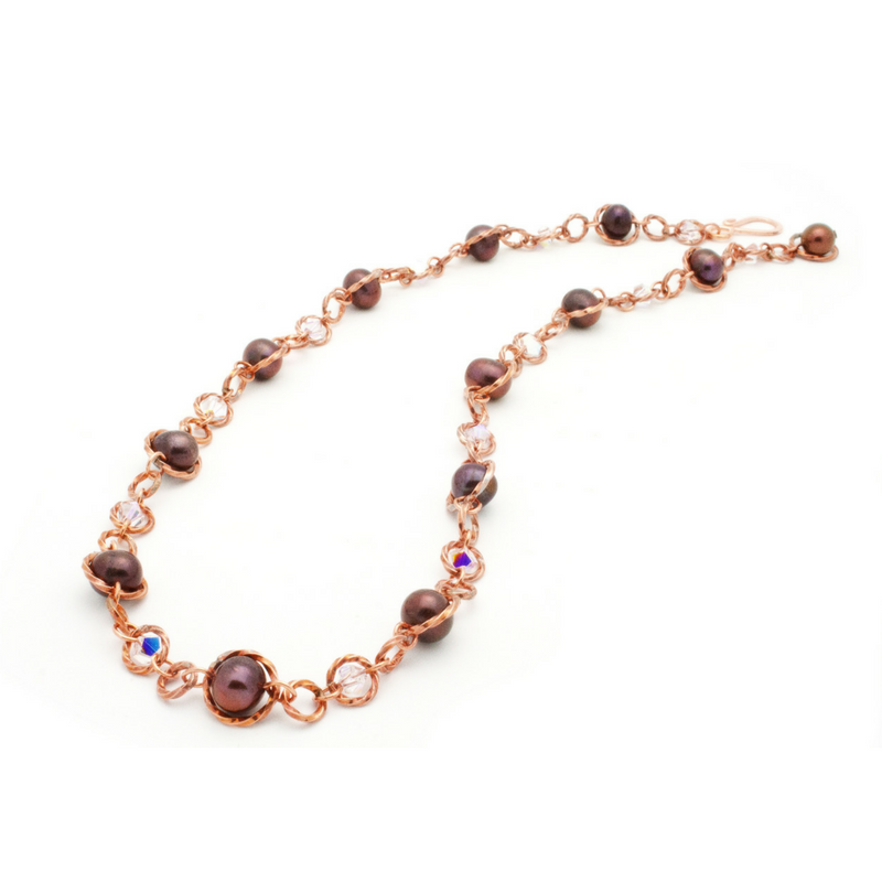 Felicity Necklace – Copper/Burgundy Pearl