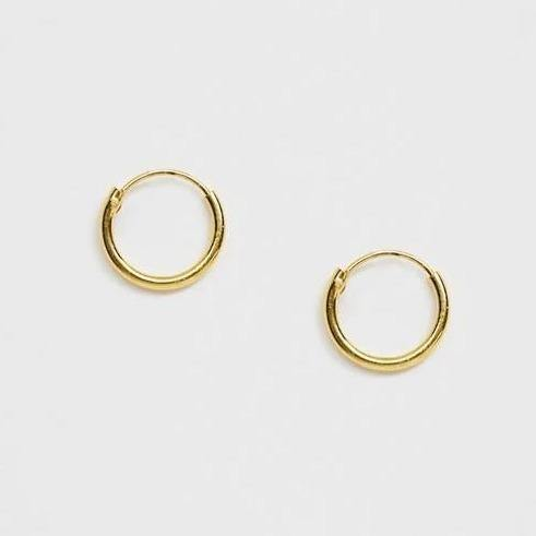 DesignB gold plated small hoop earrings in sterling silver with Real gold plating