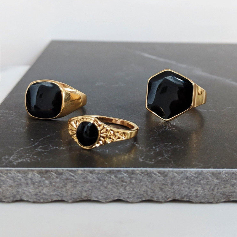 DesignB Gold & Black Chunky Rings In 3-Pack