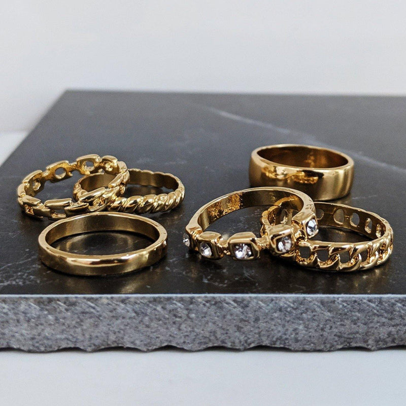 Designb Gold Band Rings 6 Pack