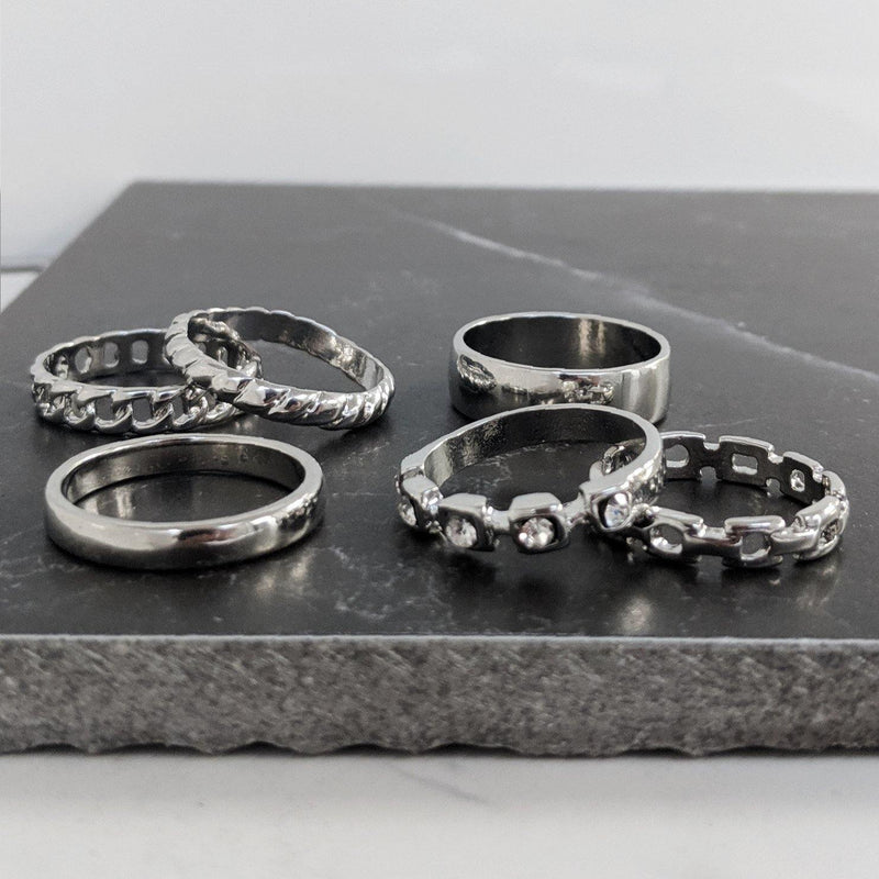 Silver Multi-Design Band Rings 6 Pack