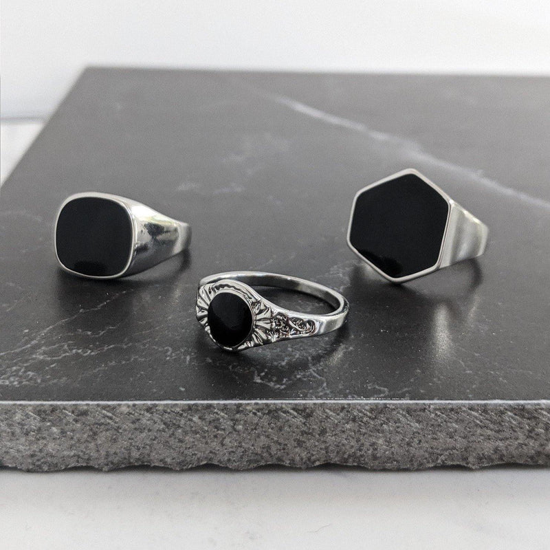 DesignB Silver & Black Chunky Rings In 3-Pack