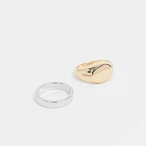 Oval & band ring in silver & gold in - 2 pack