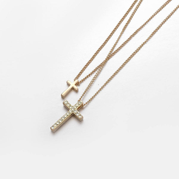 Double Layered Cross Pendant In Gold