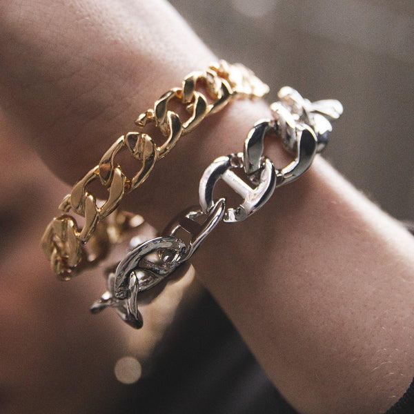 Chunky Chain Bracelet In Silver With Anchor Links - designblondon