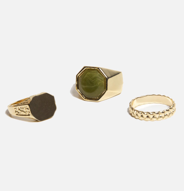 Green Signet & Band Rings In 3 Pack