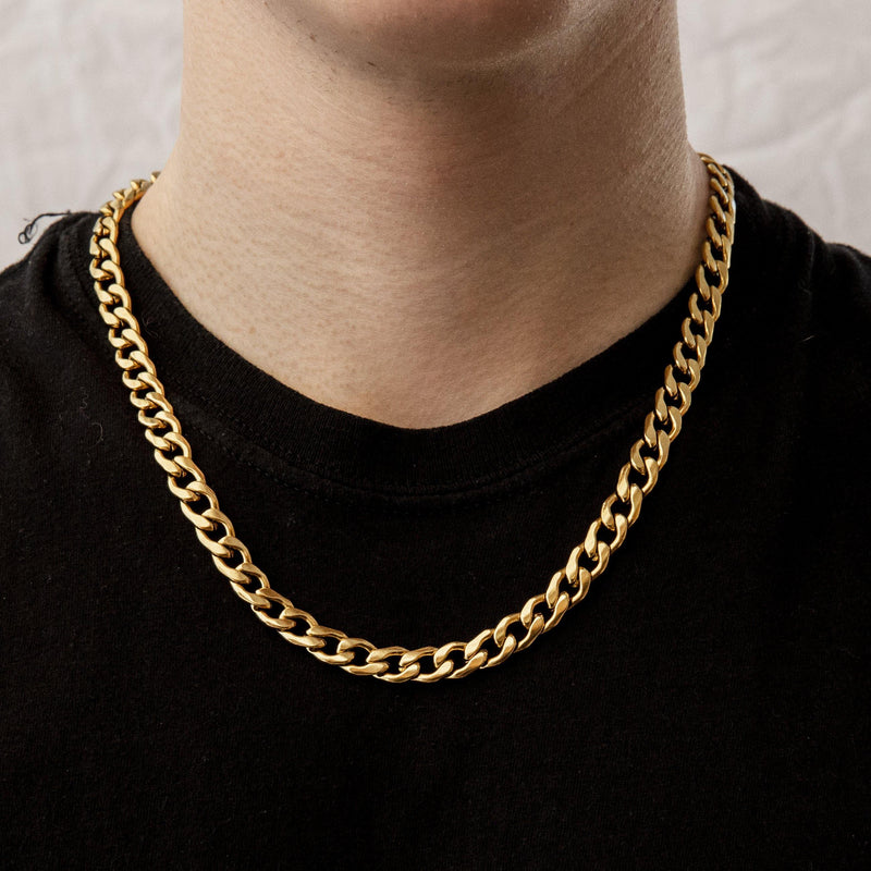 Curb Chain Necklace in Gold 𝙎𝙩𝙖𝙞𝙣𝙡𝙚𝙨𝙨 𝙎𝙩𝙚𝙚𝙡 - 9mm