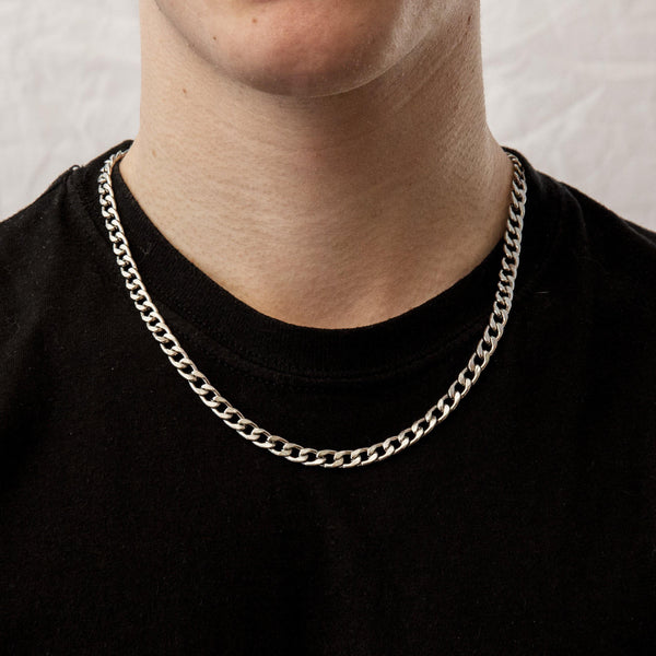 Silver Curb Chain Necklace 6mm | DesignB - SEO - designblondon
