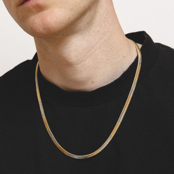Flat Snake Neck-Chain In Mixed Metal - designblondon