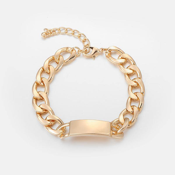 Chunky Chain ID Bracelet In Gold - designblondon