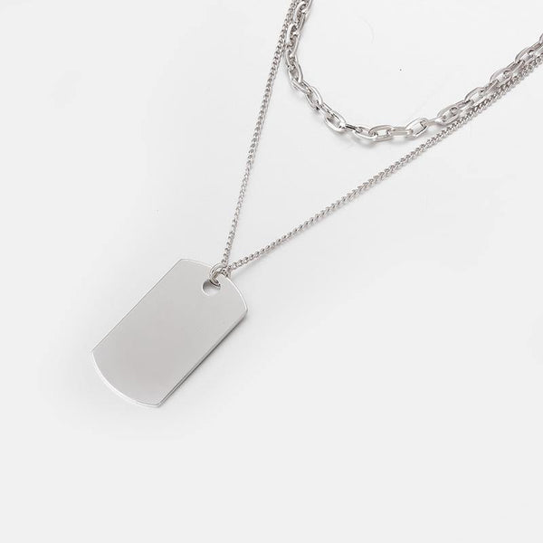 Layered Dog Tag Necklace In Silver