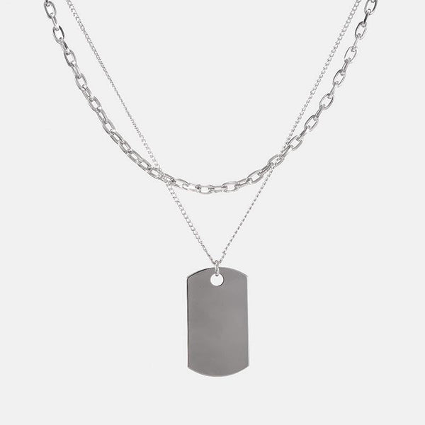 Layered Dog Tag Necklace In Silver - designblondon