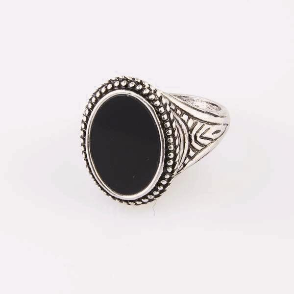 DesignB Signet Ring With Black Stone In Antique Silver