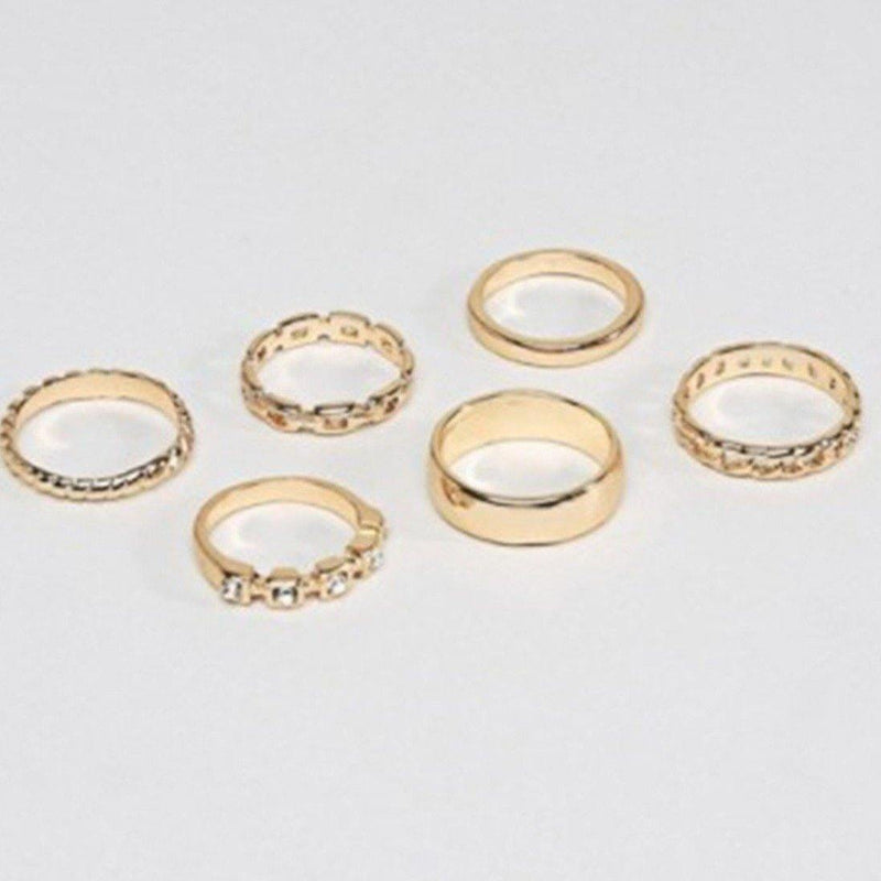 Designb Gold Multi-Design Band Rings 6 Pack