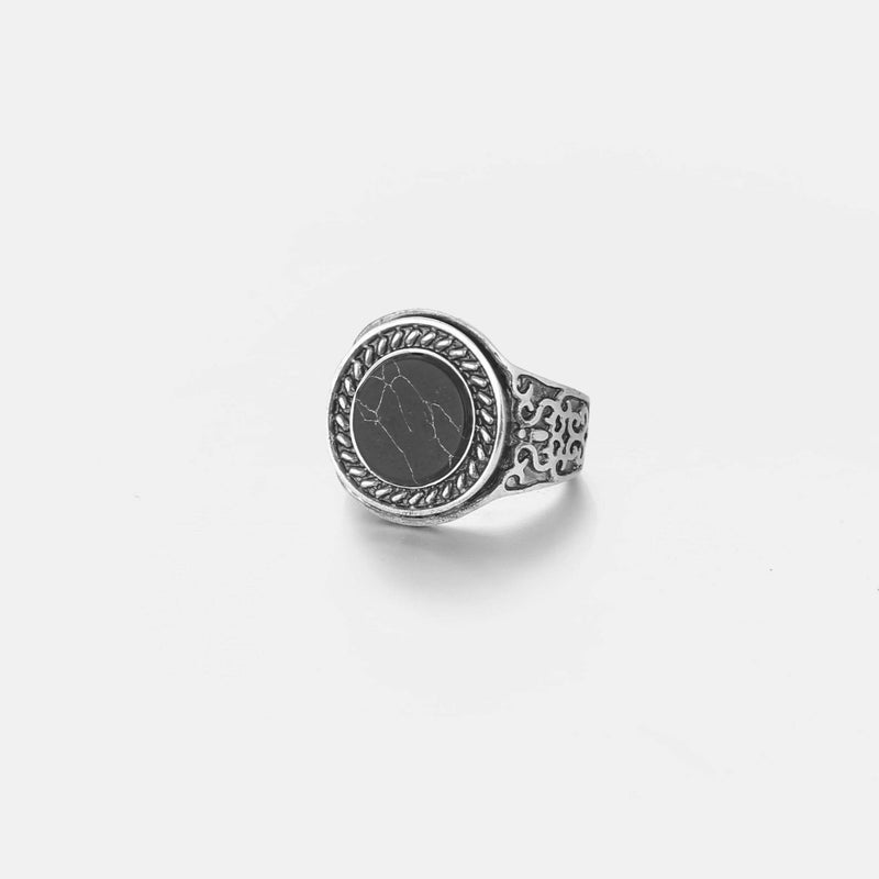 Black Marble Signet Ring In Antique Silver