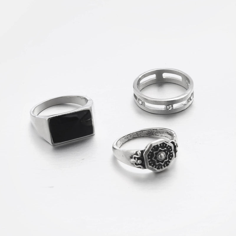 Designb 3 Pack Multi-Design Rings In Silver