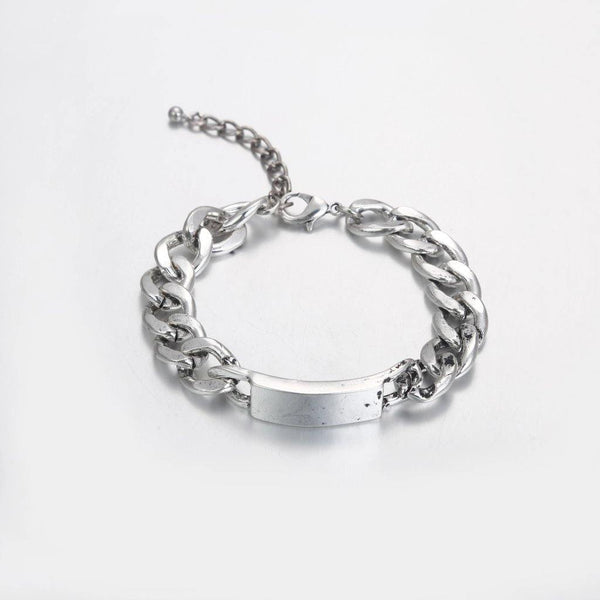 Chunky chain ID bracelet in silver - designblondon
