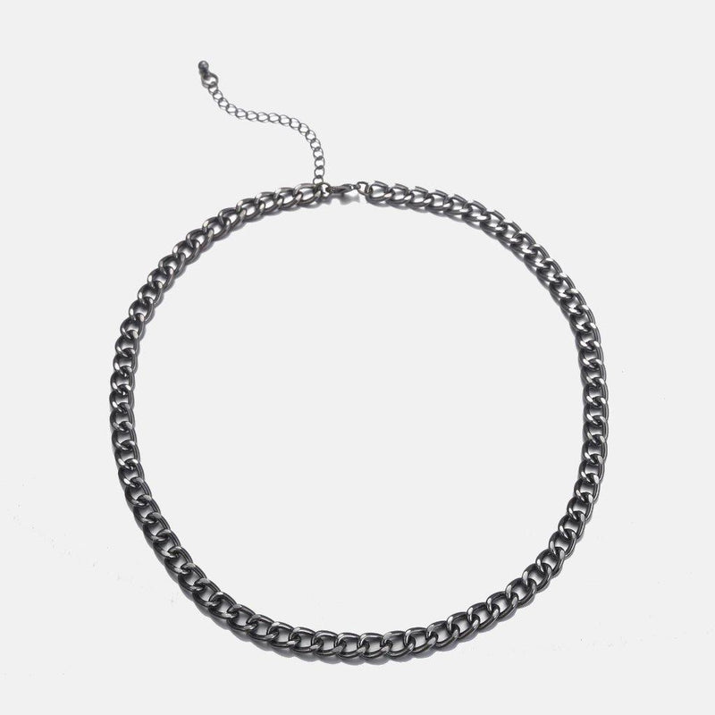 Designb chunky curb neck chain in gunmetal