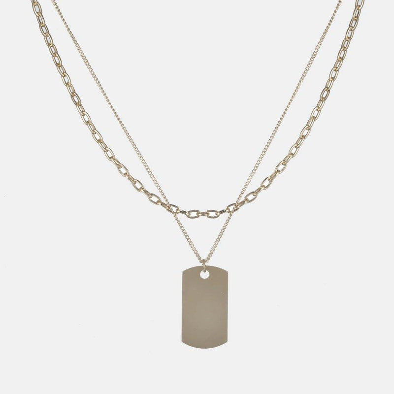 Layered Dog Tag Necklace In Gold